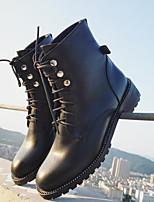 baratos -Feminino Sapatos Couro Ecológico Primavera Outono Conforto Coturnos Botas Salto Robusto Botas Cano Médio para Casual Preto Prata