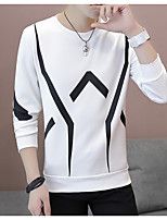 cheap -Men's Plus Size Going out Casual Sweatshirt Solid Striped Round Neck Belt Not Included Micro-elastic Polyester Long Sleeve Spring Fall