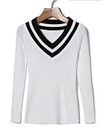 cheap -Women's Cotton T-shirt - Striped V Neck