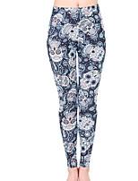 cheap -Women's Artistic Style Polyester Opaque Print Legging,Print Navy Blue Black Blue