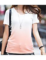 Недорогие -Для женщин Повседневные Лето Футболка Круглый вырез,На каждый день Контрастных цветов Короткие рукава,Хлопок