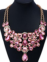 cheap -Women's Drop Fashion European Elegant Chain Necklace Statement Necklace Rhinestone Acrylic Acrylic Alloy Chain Necklace Statement Necklace