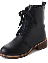 cheap -Women's Shoes PU Spring Fall Comfort Fashion Boots Boots Chunky Heel Round Toe Mid-Calf Boots for Casual Black