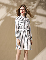 cheap -8CFAMILY Women's Daily Going out Casual Active Shirt Dress,Striped Stand Above Knee Long Sleeve Cotton Spring Summer Mid Waist Micro-elastic Thin