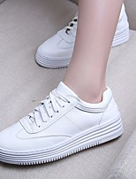cheap -Women's Shoes PU Spring Fall Comfort Sneakers Flat Heel Round Toe for Outdoor White