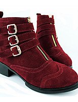 cheap -Women's Shoes Cowhide Winter Fall Comfort Bootie Boots Chunky Heel for Casual Wine Black