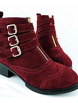 Недорогие -Жен. Обувь Кожа Зима Осень Удобная обувь Ботильоны Ботинки На толстом каблуке для Повседневные Черный Винный