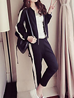 cheap -Women's Going out Street chic Winter Fall Hoodie Pant Suits,Solid Round Neck Long Sleeve Polyester