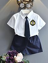 Недорогие -Мальчики Набор одежды Повседневные Хлопок Однотонный Лето Длинный рукав Белый