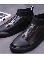 Недорогие -Для мужчин обувь Искусственное волокно Весна Осень Удобная обувь Кеды для Повседневные Черный