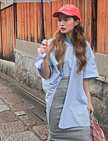 cheap -Women's Casual/Daily Street chic Shirt,Solid Shirt Collar Half Sleeves Cotton