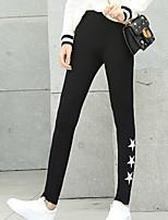 preiswerte -Damen Monogramm Undurchsichtig Polyester Solide Druck Einfarbig Bedruckt Legging,Schwarz