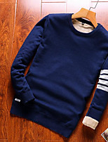 Недорогие -Муж. Однотонный Пуловер, На выход Длинный рукав Круглый вырез Полиэстер Зима Осень