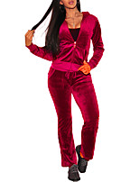 cheap -Women's Plus Size Velvet Set - Solid, Slim Pant