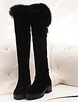 cheap -Women's Shoes Nubuck leather Winter Fall Comfort Snow Boots Boots Flat Heel Over The Knee Boots for Casual Black