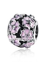 cheap -DIY Jewelry 1 Beads White Rose Pink Flower Ball Silver Bead 0.9 cm DIY Bracelet Necklace