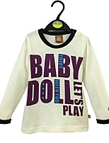 cheap -Boys' Solid Letter Tee,Cotton Spring Fall Long Sleeve Simple White