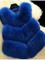 cheap -Women's Daily Cute Winter Fall Fur Coat,Solid V Neck Sleeveless Short Faux Fur