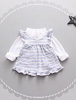 cheap -Baby Girls' Daily Striped Print Clothing Set,Cotton Spring Simple Long Sleeve Lavender