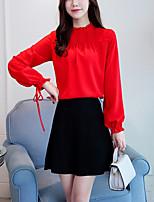 Недорогие -Для женщин На выход Офис Весна Блуза Воротник-стойка,Уличный стиль Однотонный Длинные рукава,Полиэстер,Плотная
