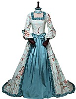 cheap -Rococo Victorian Costume Women's Adults' Outfits Print Vintage Cosplay 100% Cotton 3/4 Length Sleeve Puff/Balloon Asymmetrical