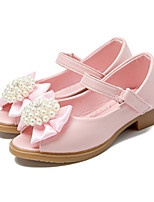 cheap -Girls' Shoes PU Spring Summer Flower Girl Shoes Novelty Flats Bowknot Beading Magic Tape for Party & Evening Dress White Pink