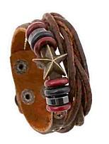 preiswerte -Herrn Damen Wickelarmbänder , Doppellagig Einfach Leder Aleación Stern Schmuck Alltag Modeschmuck