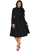 cheap -Women's Party Street chic A Line Dress,Solid Turtleneck Knee-length Long Sleeve Polyester Spandex Winter High Waist Micro-elastic Opaque