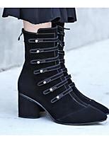 abordables -Femme Chaussures Cuir Nappa Cuir Hiver Automne Confort boîtes de Combat Bottes Talon Bottier Bottes Mi-mollet pour Décontracté Noir