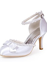 cheap -Women's Shoes Silk Spring Summer Basic Pump Wedding Shoes Stiletto Heel Closed Toe Bowknot Imitation Pearl for Wedding Party & Evening