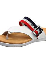 Недорогие -Муж. обувь Наппа Leather Лето Осень Удобная обувь Тапочки и Шлепанцы Дышащая спортивная обувь для Повседневные Белый Черный