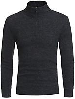 Недорогие -Для мужчин Повседневные На каждый день Обычный Пуловер Однотонный,Хомут Длинный рукав Полиэстер Японскийхлопок Зима Осень Толстая