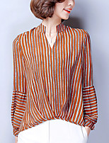 cheap -Women's Going out Street chic Sophisticated Spring Blouse,Striped V Neck Long Sleeve Polyester