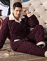 abordables -Costumes Pyjamas Homme,Fleur Epais Polyester Bleu Vin