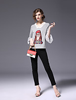 cheap -FRMZ Women's Daily Going out Cute Spring Fall T-shirt,Color Block V Neck ¾ Sleeve Cotton Polyester