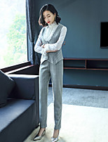 cheap -EWUS Women's Going out Work Casual Street chic Spring Summer Shirt Pant SuitsSolid Crew Neck Long Sleeve Polyester Elastane Inelastic