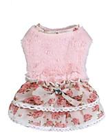 abordables -Chat Chien Robe Vêtements pour Chien Elégant Style Mignon Impression réactive Mosaïque Beige Rose Costume Pour les animaux domestiques