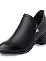 baratos -Mulheres Sapatos Couro Ecológico Primavera Outono Conforto Botas Salto Robusto Botas Curtas / Ankle para Casual Preto Cinzento Amarelo