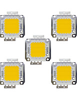 Недорогие -20w cob 1600lm 3000-3200k / 6000-6200k теплый белый / белый светодиодный светодиодный чип dc30-36v 5шт.