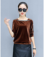 cheap -Women's Daily Casual Winter Fall T-shirt,Solid Round Neck Long Sleeve Polyester Thick