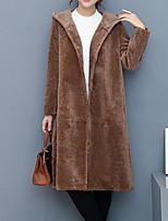 cheap -Women's Going out Street chic Winter Fall Fur Coat,Solid Hooded Long Sleeve Long Polyester