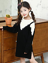 cheap -Girl's Daily Going out Patchwork Dress,Cotton Rayon Spring Fall Long Sleeves Cute Casual Black