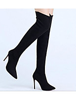 cheap -Women's Shoes Fabric Winter Fall Comfort Fashion Boots Boots Stiletto Heel Over The Knee Boots for Casual Black Red