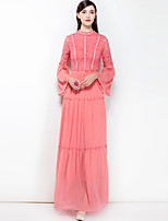 cheap -MARY YAN&YU Women's Party Cute Boho Swing Maxi Dress,Solid Color Basic Stand Long Sleeve Spring Summer
