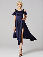 cheap -A-Line Princess Scoop Neck Asymmetrical Satin Formal Evening Dress with Pleats by TS Couture®