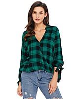 cheap -Women's Daily Casual All Seasons Shirt,Plaid Shirt Collar Long Sleeve Polyester Opaque
