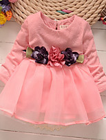 cheap -Girl's SchoolWear Daily Solid Simple Jacquard Dress,Cotton Acrylic All Seasons Long Sleeves Cute Active Princess Yellow Blushing Pink