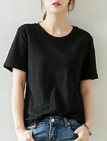 abordables -Tee-shirt Femme,Couleur Pleine Quotidien Décontracté Eté Manches courtes Col Arrondi Coton