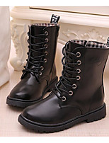 cheap -Girls' Shoes PU Winter Fall Comfort Combat Boots Boots Mid-Calf Boots for Casual Burgundy Red Black