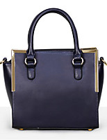 cheap -Women Bags Cowhide Polyester Tote Zipper for Casual All Season Dark Blue Black